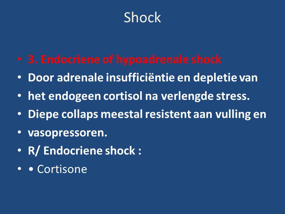 Shock 3. Endocriene of hypoadrenale shock Door adrenale insufficiëntie en depletie van het endogeen cortisol na verlengde stress. Diepe collaps meesta