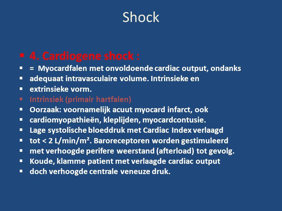 Shock  4. Cardiogene shock :  = Myocardfalen met onvoldoende cardiac output, ondanks  adequaat intravasculaire volume. Intrinsieke en  extrinsieke