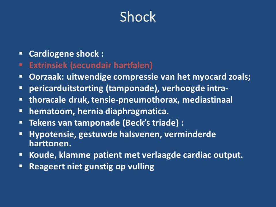Shock  Cardiogene shock :  Extrinsiek (secundair hartfalen)  Oorzaak: uitwendige compressie van het myocard zoals;  pericarduitstorting (tamponade