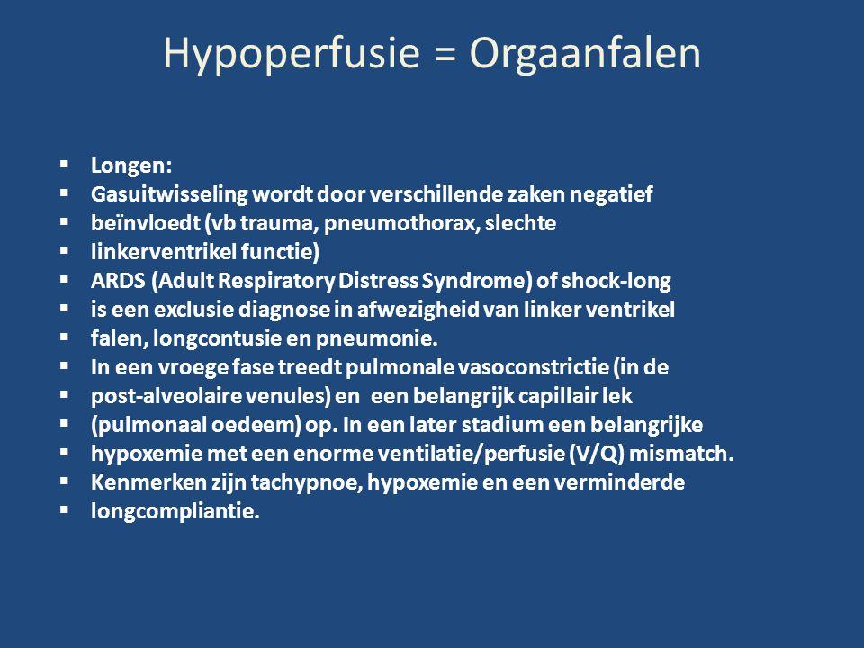 Hypoperfusie = Orgaanfalen  Longen:  Gasuitwisseling wordt door verschillende zaken negatief  beïnvloedt (vb trauma, pneumothorax, slechte  linker