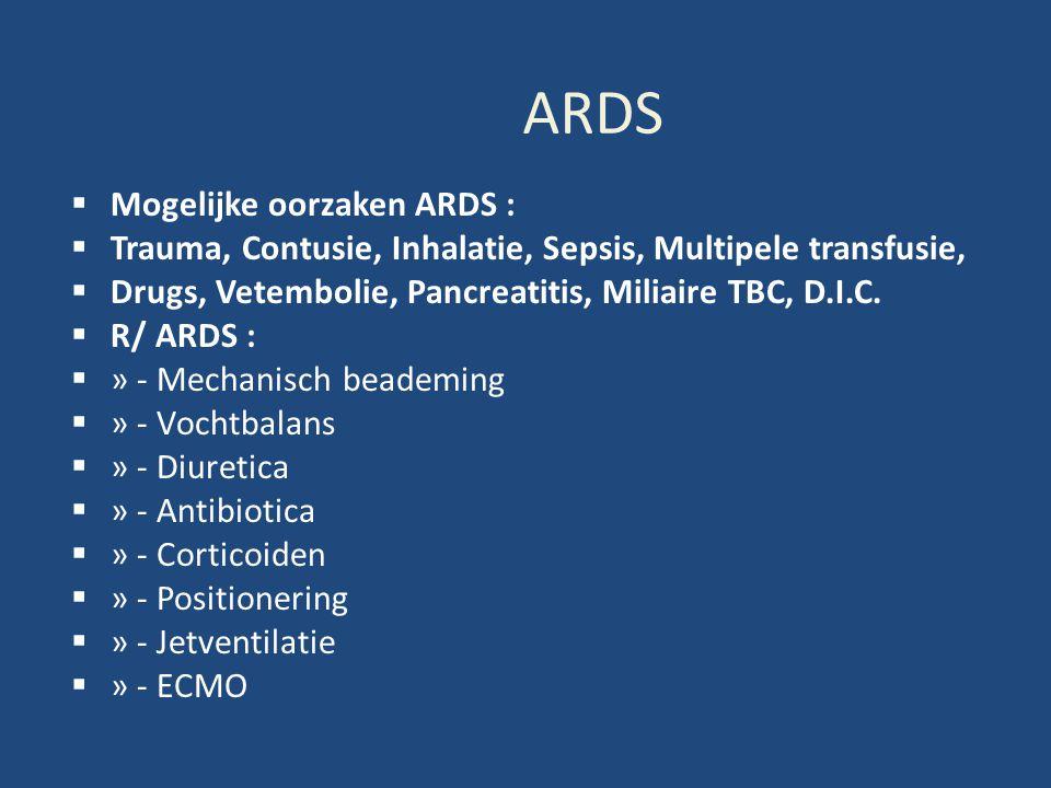 ARDS  Mogelijke oorzaken ARDS :  Trauma, Contusie, Inhalatie, Sepsis, Multipele transfusie,  Drugs, Vetembolie, Pancreatitis, Miliaire TBC, D.I.C.