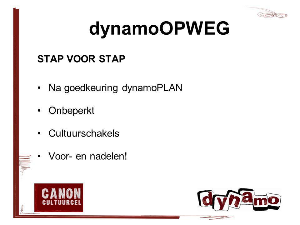 dynamoOPWEG STAP VOOR STAP Na goedkeuring dynamoPLAN Onbeperkt Cultuurschakels Voor- en nadelen!