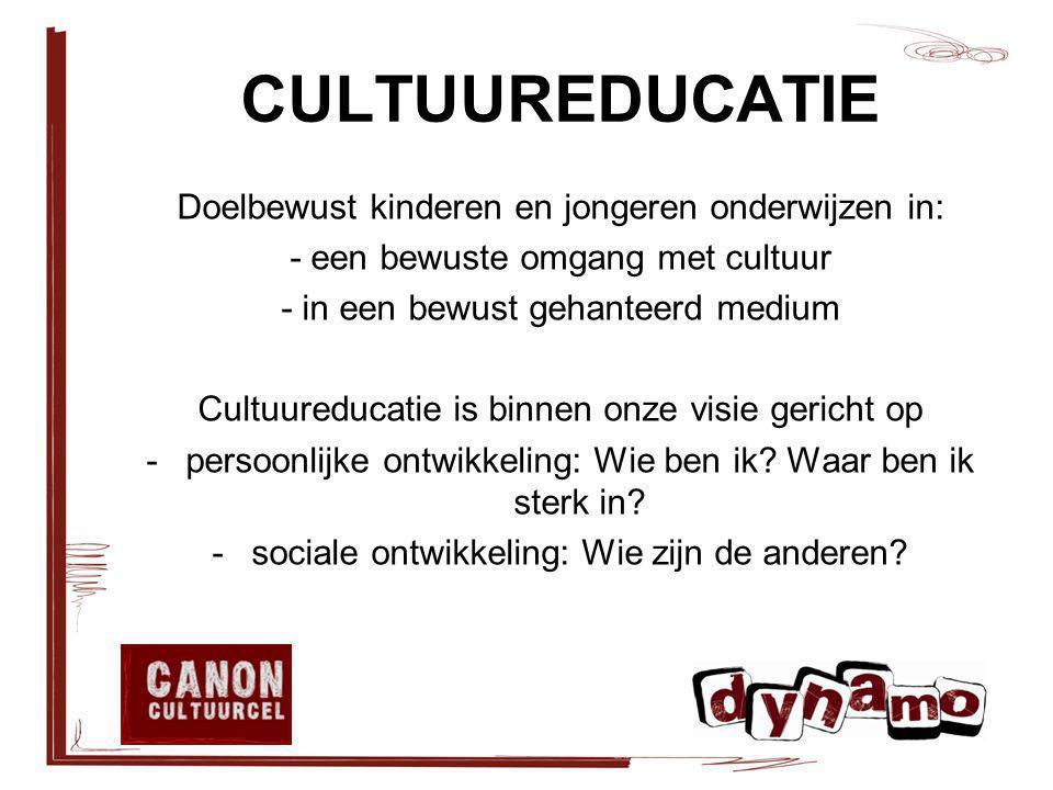 CULTUUREDUCATIE Doelbewust kinderen en jongeren onderwijzen in: - een bewuste omgang met cultuur - in een bewust gehanteerd medium Cultuureducatie is binnen onze visie gericht op -persoonlijke ontwikkeling: Wie ben ik.