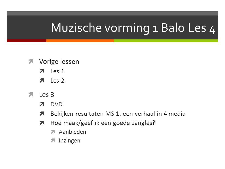 Muzische vorming 1 Balo Les 4  Vorige lessen  Les 1  Les 2  Les 3  DVD  Bekijken resultaten MS 1: een verhaal in 4 media  Hoe maak/geef ik een goede zangles.