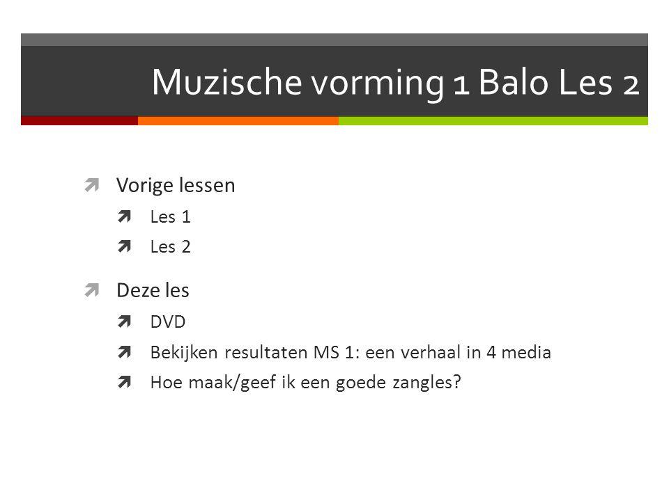 Muzische vorming 1 Balo Les 2  Vorige lessen  Les 1  Les 2  Deze les  DVD  Bekijken resultaten MS 1: een verhaal in 4 media  Hoe maak/geef ik een goede zangles?
