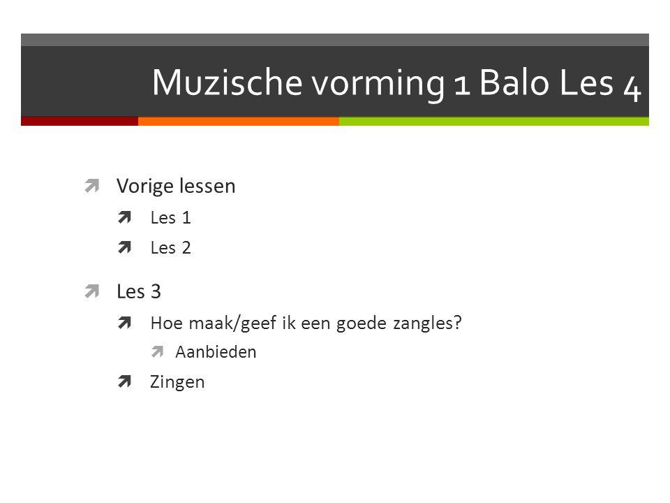 Muzische vorming 1 Balo Les 4  Vorige lessen  Les 1  Les 2  Les 3  Hoe maak/geef ik een goede zangles.