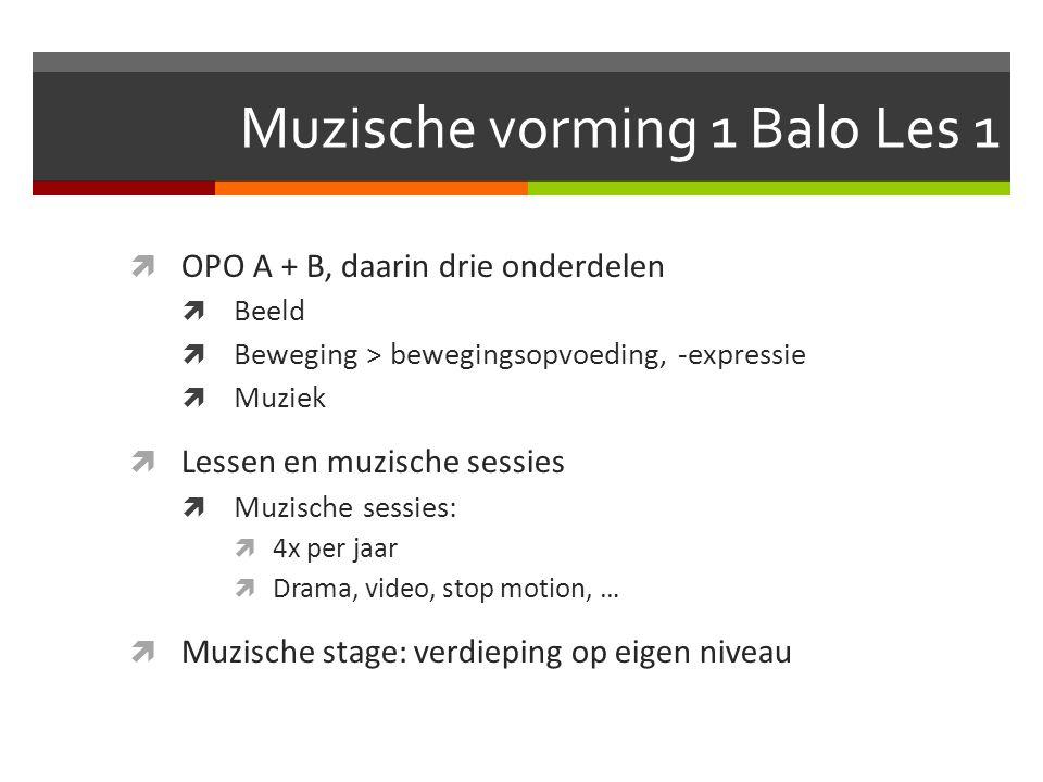 Muzische vorming 1 Balo Les 1  OPO A + B, daarin drie onderdelen  Beeld  Beweging > bewegingsopvoeding, -expressie  Muziek  Lessen en muzische sessies  Muzische sessies:  4x per jaar  Drama, video, stop motion, …  Muzische stage: verdieping op eigen niveau