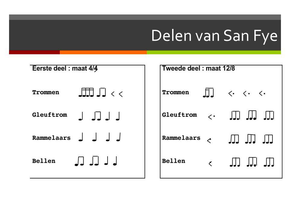 Luisteren naar San Fye  Vragen:  Waar speelt deze muziek zich af?  Wanneer?  Is er een publiek?  Wie doet er mee?  Is er een dirigent?  Is er e
