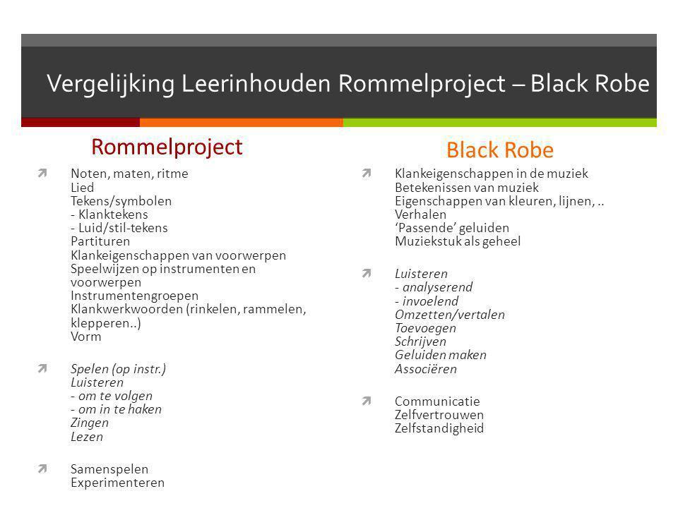 Vergelijking Leerinhouden Rommelproject – Black Robe Rommelproject  Noten, maten, ritme Lied Tekens/symbolen - Klanktekens - Luid/stil-tekens Partitu