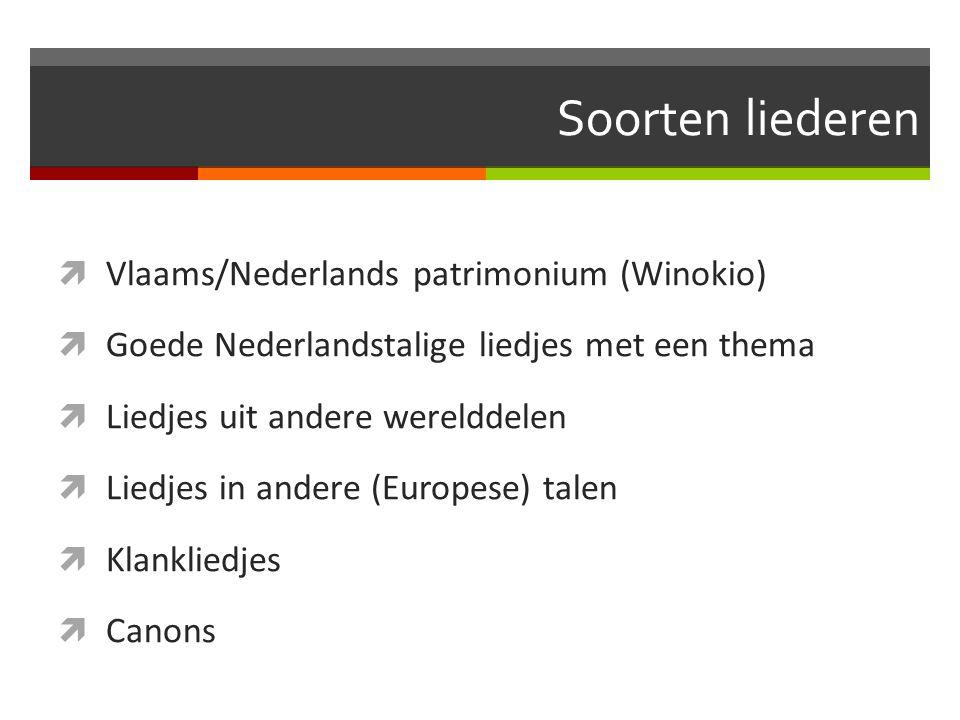 Soorten liederen  Vlaams/Nederlands patrimonium (Winokio)  Goede Nederlandstalige liedjes met een thema  Liedjes uit andere werelddelen  Liedjes i