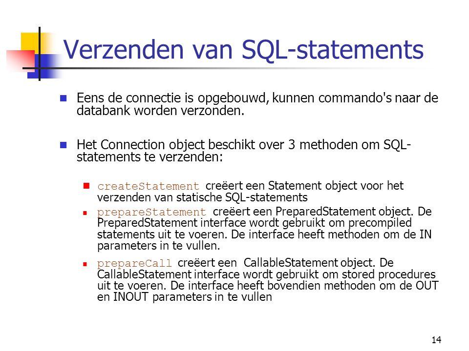 14 Verzenden van SQL-statements Eens de connectie is opgebouwd, kunnen commando's naar de databank worden verzonden. Het Connection object beschikt ov
