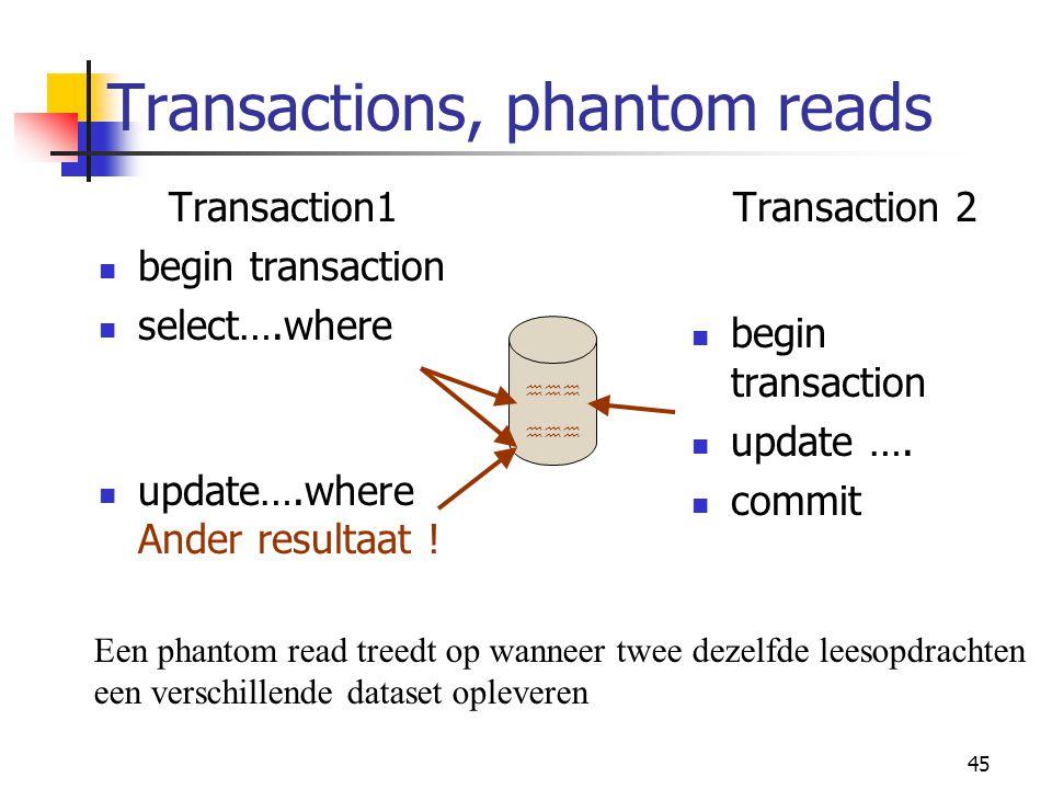45 Transactions, phantom reads Transaction1 begin transaction select….where update….where Ander resultaat ! Transaction 2 begin transaction update ….