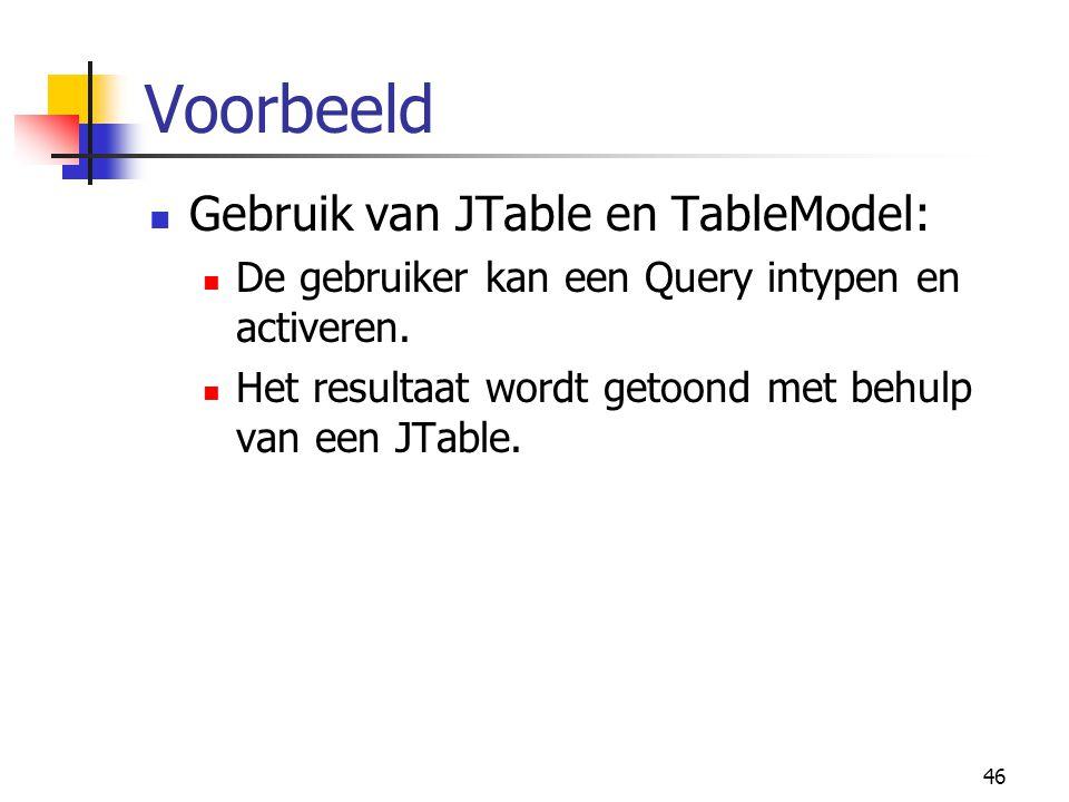 46 Voorbeeld Gebruik van JTable en TableModel: De gebruiker kan een Query intypen en activeren. Het resultaat wordt getoond met behulp van een JTable.
