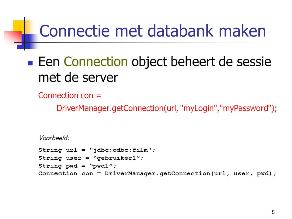 49 public ResultSetTableModel( String driver, String url, String query ) throws SQLException, ClassNotFoundException { // maak verbinding en initialiseer resultSet, metaData en aantal rows (methode setQuery) Class.forName( driver ); connection = DriverManager.getConnection( url ); statement = connection.createStatement( ResultSet.TYPE_SCROLL_INSENSITIVE, ResultSet.CONCUR_READ_ONLY ); connectedToDatabase = true; setQuery( query ); }