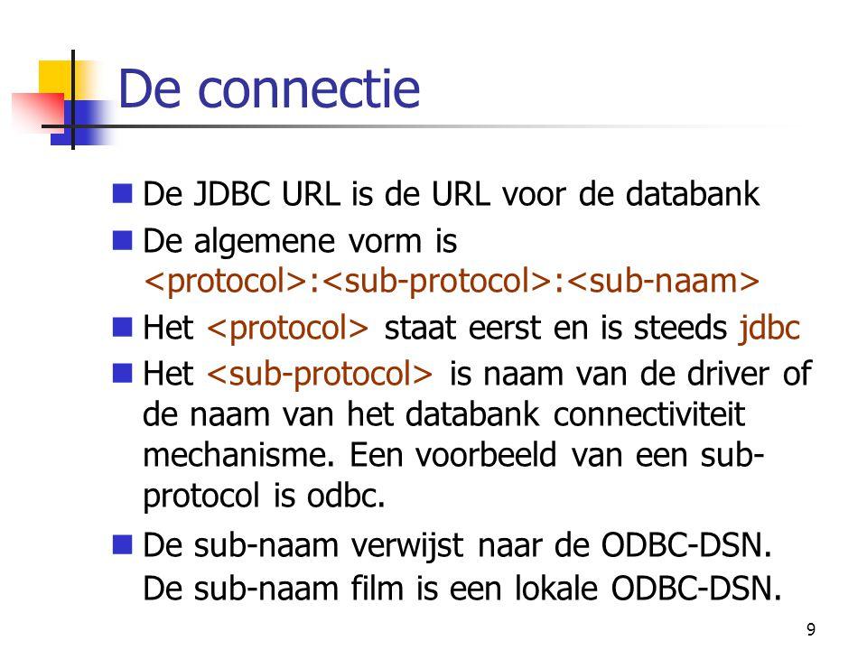 20 Voorbeeld: executeQuery() try { if(con != null) { Statement s = con.createStatement(); ResultSet rs = s.executeQuery( select * from films ); //zie verderbij voorbeeld resultset } } catch(SQLException sqle) { sqle.printStackTrace(); }