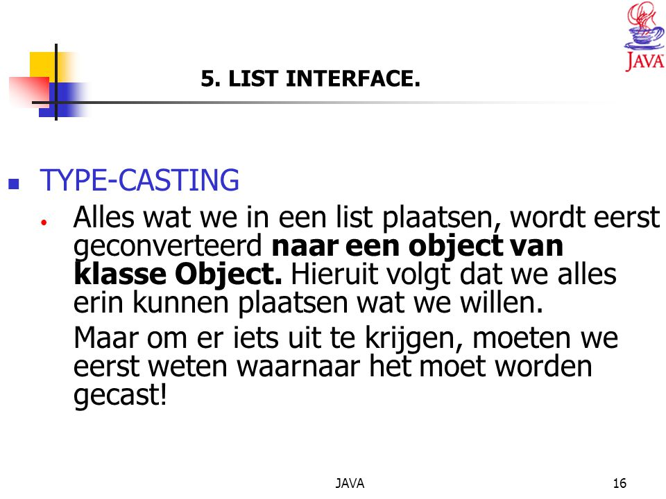 JAVA16 5.LIST INTERFACE.