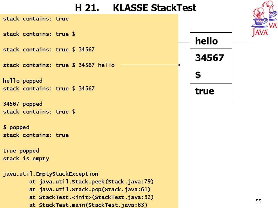 JAVA55 H 21. KLASSE StackTest stack contains: true stack contains: true $ stack contains: true $ 34567 stack contains: true $ 34567 hello hello popped