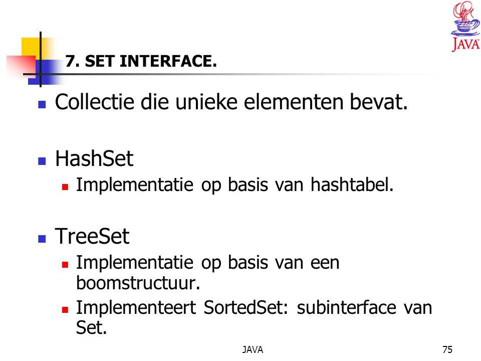 JAVA75 7.SET INTERFACE. Collectie die unieke elementen bevat.