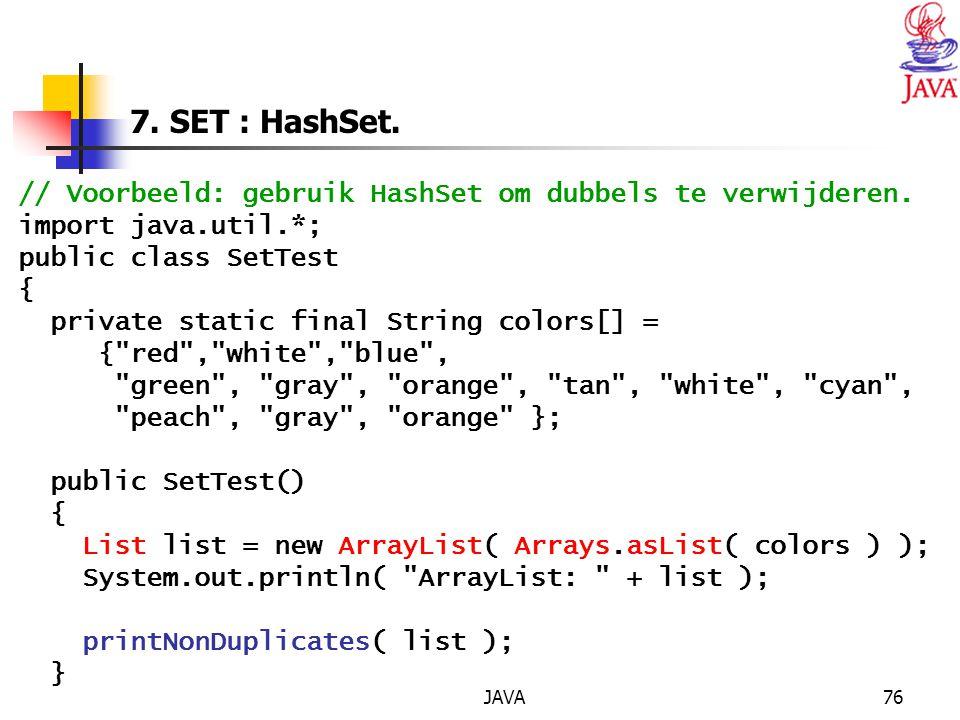 JAVA76 7.SET : HashSet. // Voorbeeld: gebruik HashSet om dubbels te verwijderen.