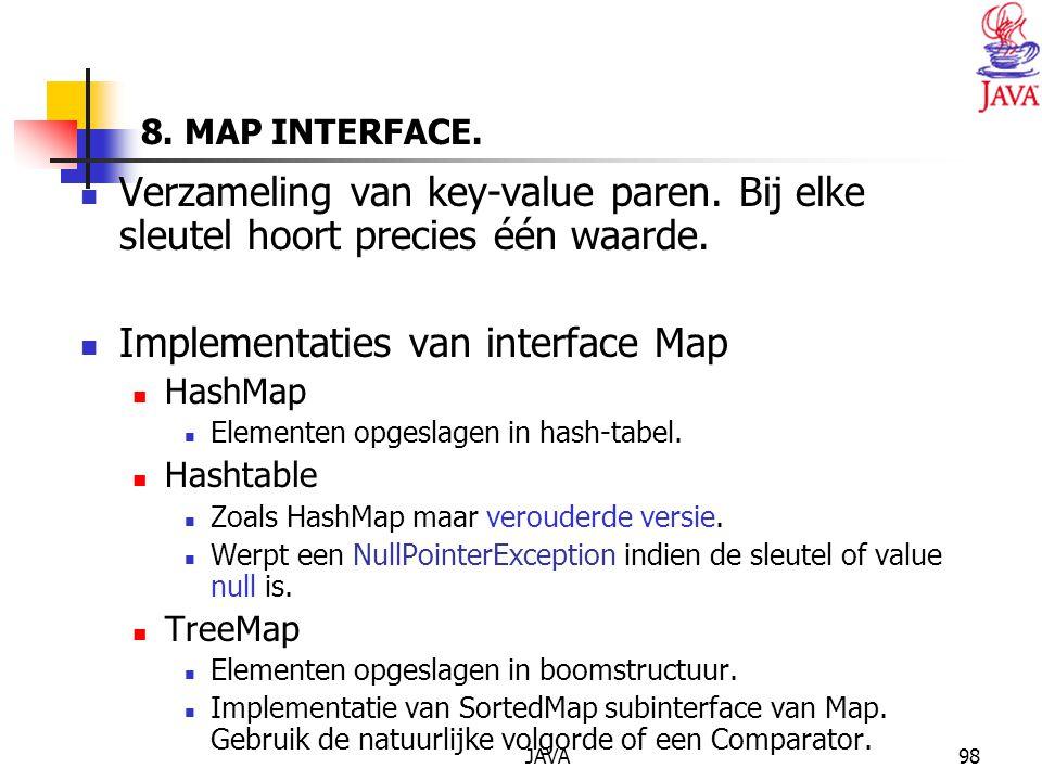 JAVA98 8.MAP INTERFACE. Verzameling van key-value paren.