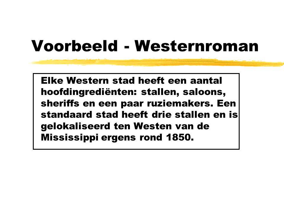 Voorbeeld - Westernroman Elke Western stad heeft een aantal hoofdingrediënten: stallen, saloons, sheriffs en een paar ruziemakers. Een standaard stad