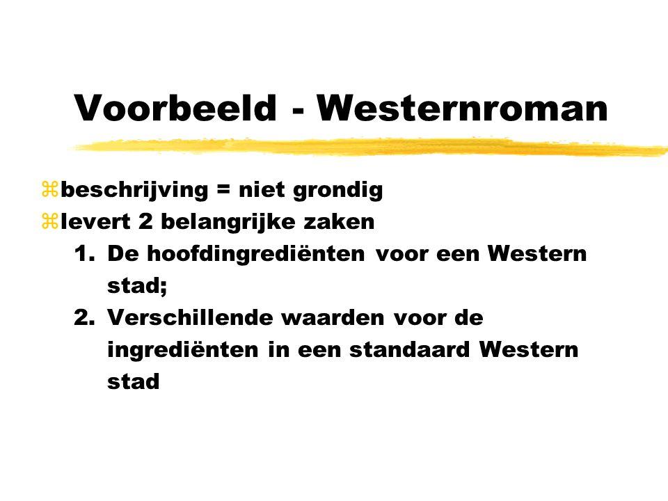 Voorbeeld - Westernroman zbeschrijving = niet grondig zlevert 2 belangrijke zaken 1.De hoofdingrediënten voor een Western stad; 2.Verschillende waarde