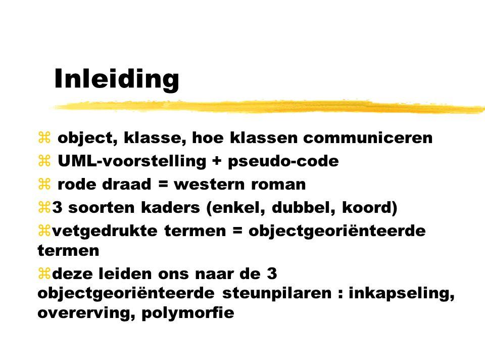 Inleiding z object, klasse, hoe klassen communiceren z UML-voorstelling + pseudo-code z rode draad = western roman z3 soorten kaders (enkel, dubbel, k