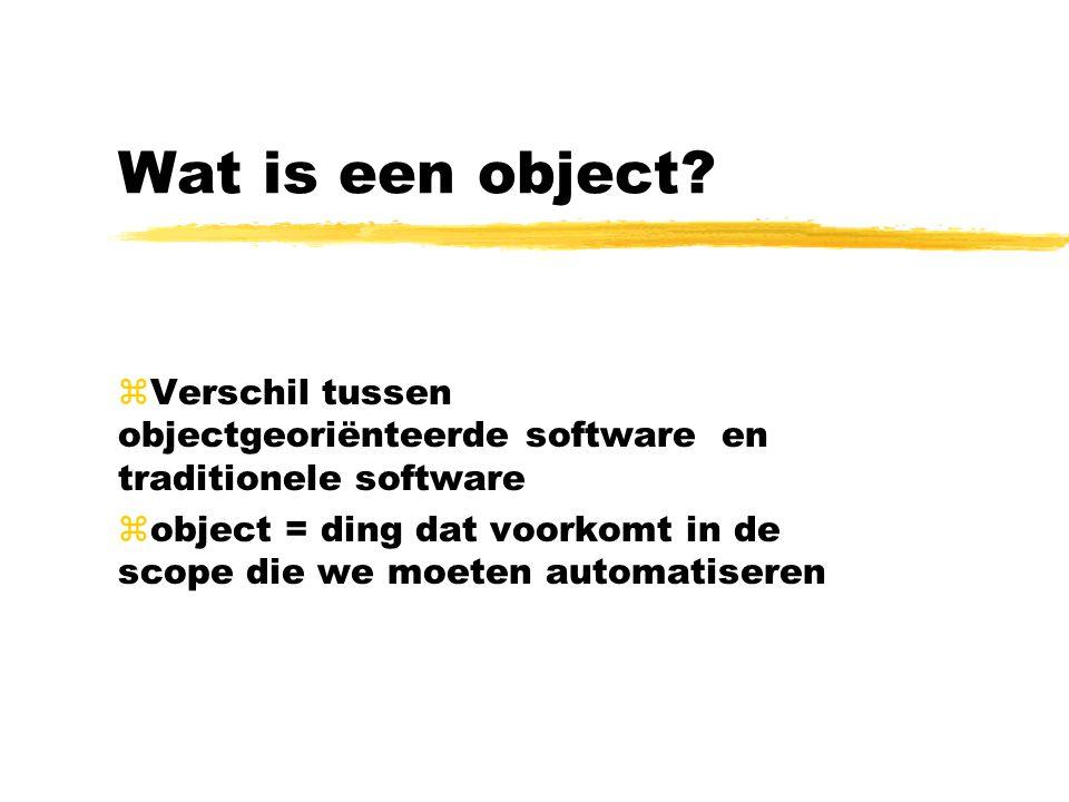 Wat is een object? zVerschil tussen objectgeoriënteerde software en traditionele software zobject = ding dat voorkomt in de scope die we moeten automa
