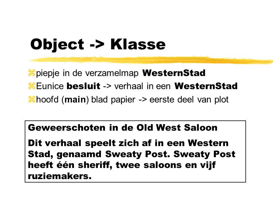 Object -> Klasse  piepje in de verzamelmap WesternStad  Eunice besluit -> verhaal in een WesternStad zhoofd (main) blad papier -> eerste deel van pl
