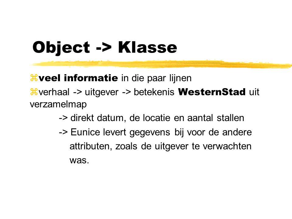 Object -> Klasse  veel informatie in die paar lijnen  verhaal -> uitgever -> betekenis WesternStad uit verzamelmap -> direkt datum, de locatie en aa