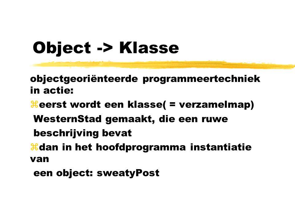 Object -> Klasse objectgeoriënteerde programmeertechniek in actie: zeerst wordt een klasse( = verzamelmap) WesternStad gemaakt, die een ruwe beschrijv