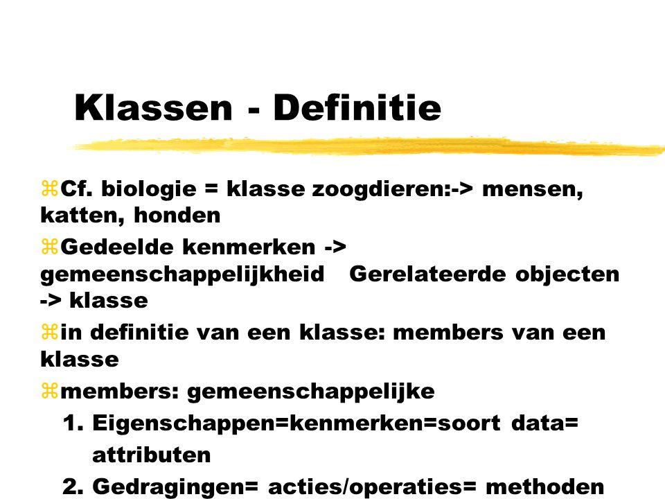 Klassen - Definitie zCf. biologie = klasse zoogdieren:-> mensen, katten, honden zGedeelde kenmerken -> gemeenschappelijkheid Gerelateerde objecten ->