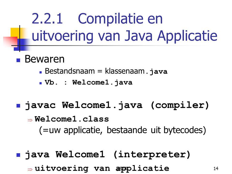 JAVA14 2.2.1Compilatie en uitvoering van Java Applicatie Bewaren Bestandsnaam = klassenaam.java Vb.