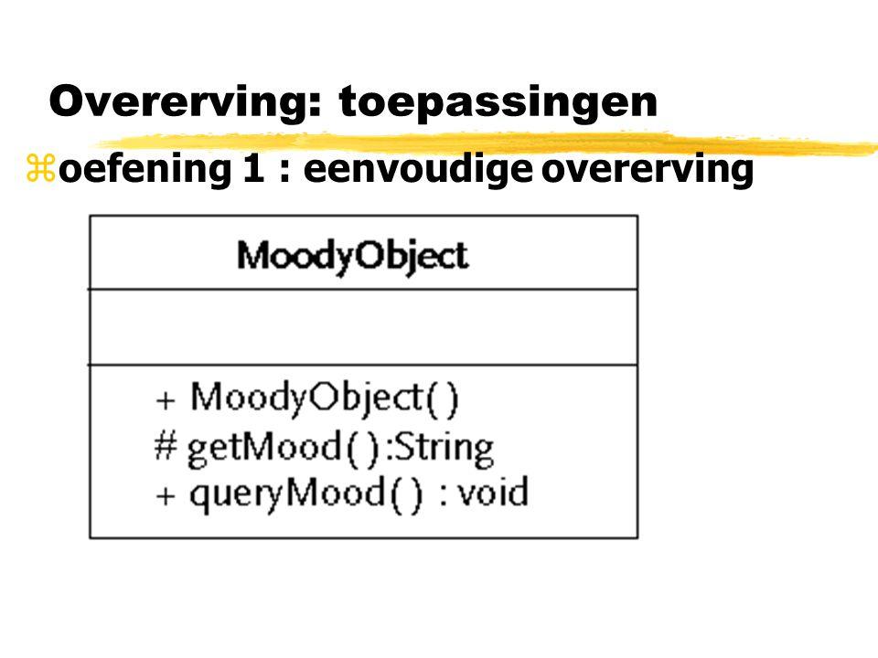Overerving: toepassingen zoefening 2 : abstracte klassen gebruiken voor geplande overerving ysoms basisklasse schrijven met de bedoeling dat andere klassen ervan zullen erven: vb bij ontdekken van identieke code bij gerelateerde klassen ysoms niet zinvol objecten te maken van de basisklasse; basisklasse bevat algemene code enkel interessant voor de subklassen yenkel zinvol objecten te maken van subklassen ybijvoorbeeld -> klasse Employee