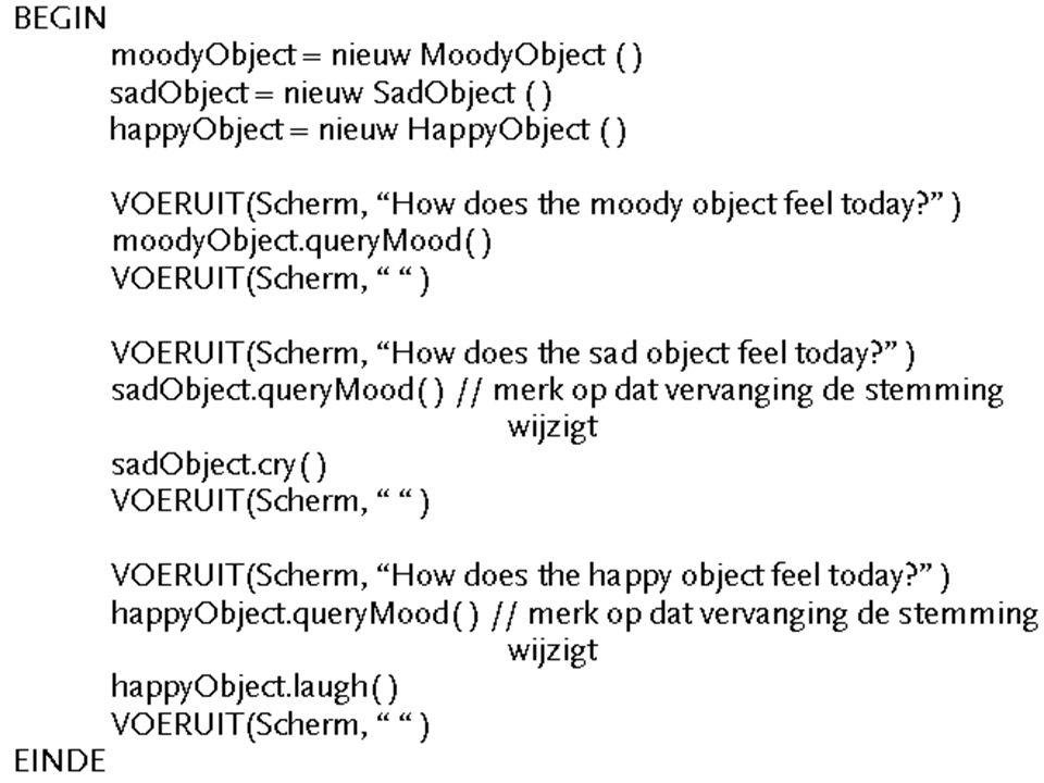Overerving: toepassingen zoefening 2 : abstracte klassen gebruiken voor geplande overerving yopgave: Beschouw klasse MoodyObject : -> alle subklassen herdefiniëren getMood( ) -> wijzig deze hiërarchie: maak getMood( ) abstract -> pas ook MoodyDriver aan -> SadObject en HappyObject -> niet wijzigen