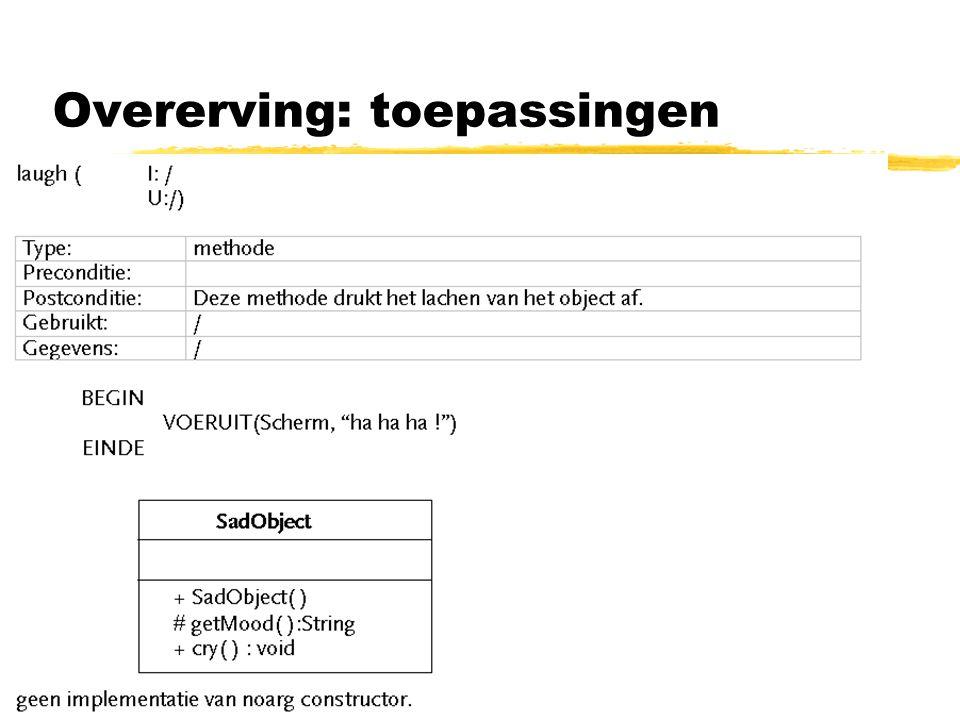 Overerving: toepassingen zoefening 2 : abstracte klassen gebruiken voor geplande overerving