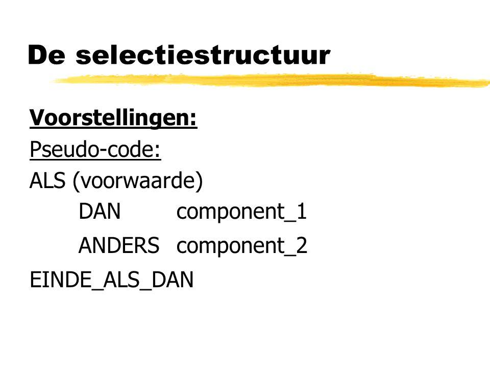 De selectiestructuur Voorstellingen: Pseudo-code: ALS (voorwaarde) DAN component_1 ANDERScomponent_2 EINDE_ALS_DAN