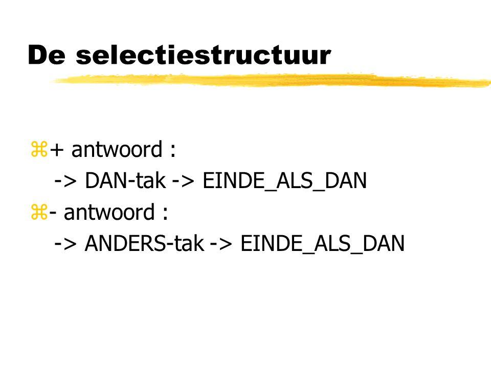 De selectiestructuur z+ antwoord : -> DAN-tak -> EINDE_ALS_DAN z- antwoord : -> ANDERS-tak -> EINDE_ALS_DAN