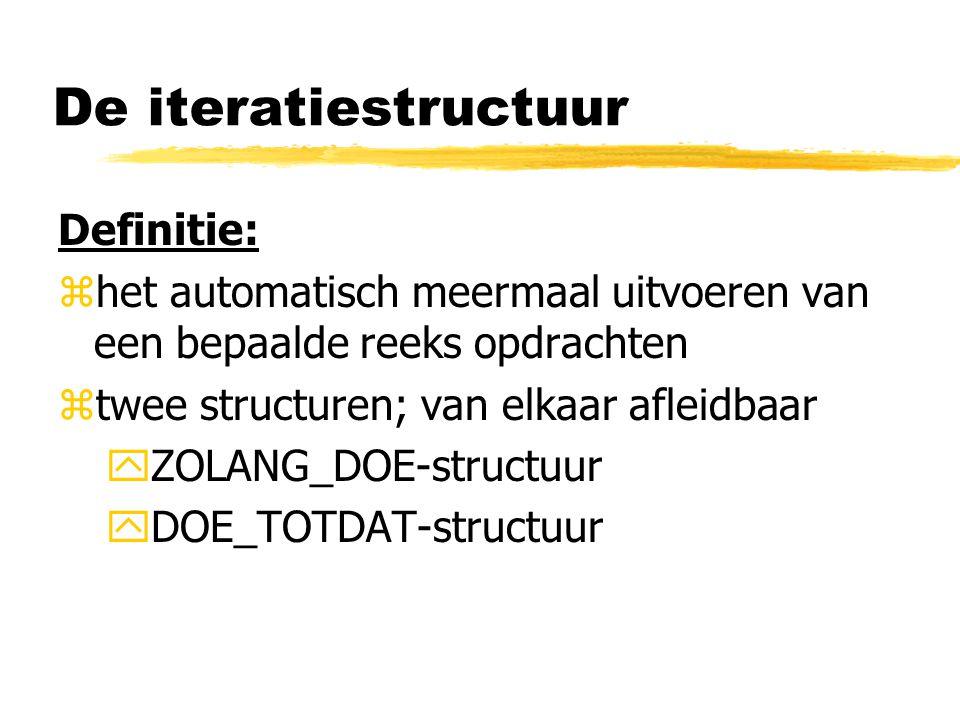 De iteratiestructuur Definitie: zhet automatisch meermaal uitvoeren van een bepaalde reeks opdrachten ztwee structuren; van elkaar afleidbaar yZOLANG_