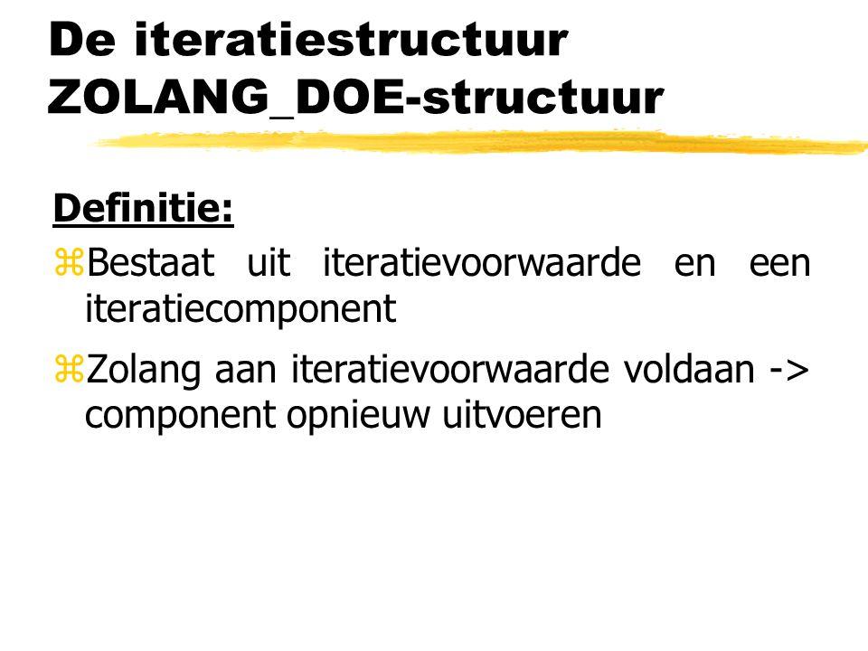 De iteratiestructuur ZOLANG_DOE-structuur Definitie: zBestaat uit iteratievoorwaarde en een iteratiecomponent zZolang aan iteratievoorwaarde voldaan -