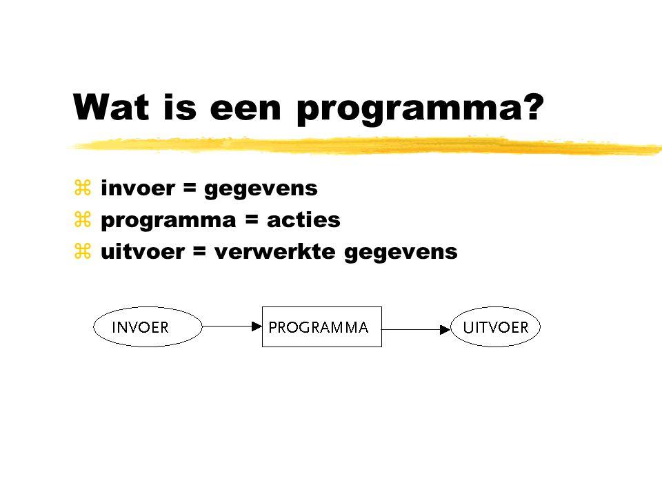 Wat is een programma? z invoer = gegevens z programma = acties z uitvoer = verwerkte gegevens