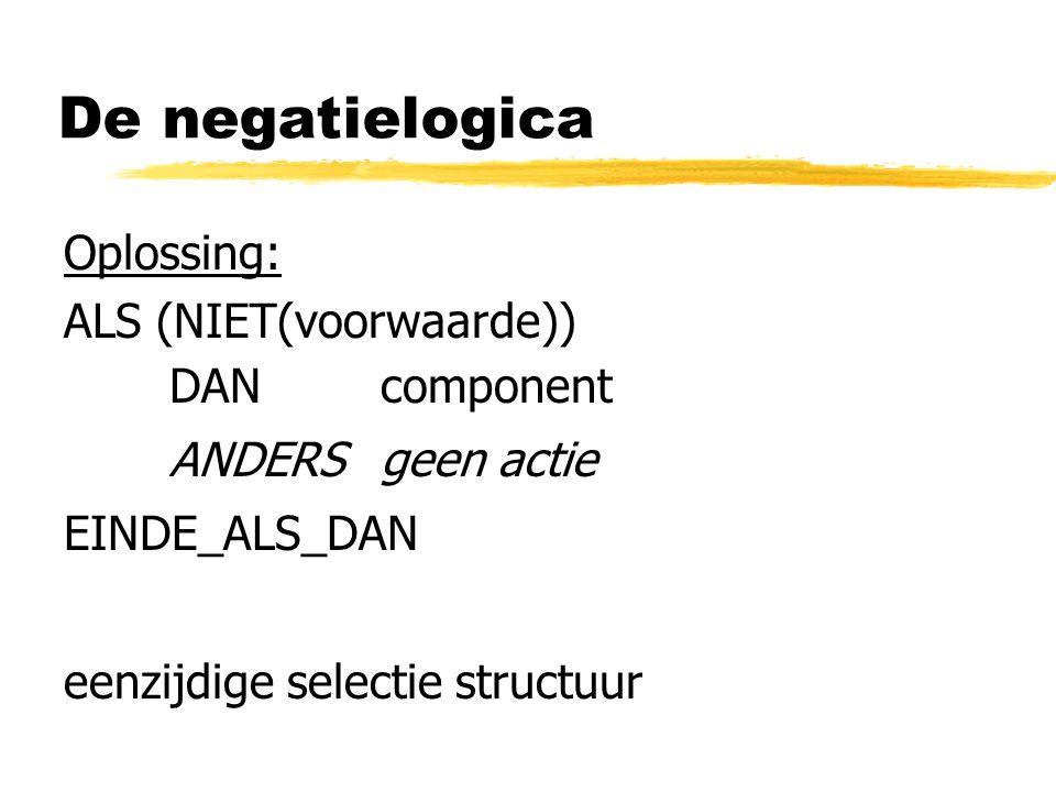 De negatielogica Oplossing: ALS (NIET(voorwaarde)) DAN component ANDERSgeen actie EINDE_ALS_DAN eenzijdige selectie structuur