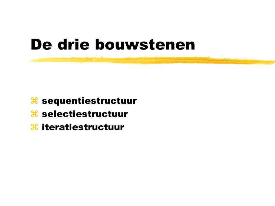 De iteratiestructuur ZOLANG_DOE-structuur Definitie: zBestaat uit iteratievoorwaarde en een iteratiecomponent zZolang aan iteratievoorwaarde voldaan -> component opnieuw uitvoeren