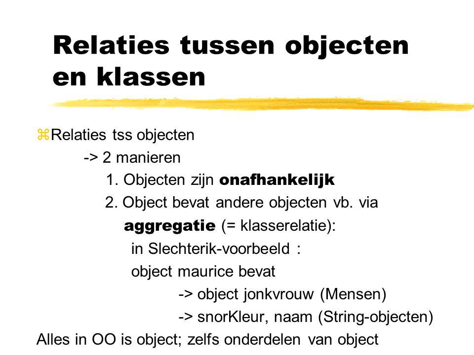 Relaties tussen objecten en klassen zRelaties tss objecten -> 2 manieren 1.