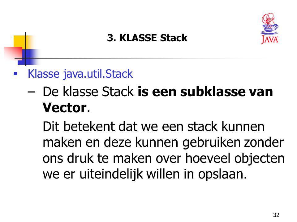 32 3.KLASSE Stack  Klasse java.util.Stack –De klasse Stack is een subklasse van Vector.
