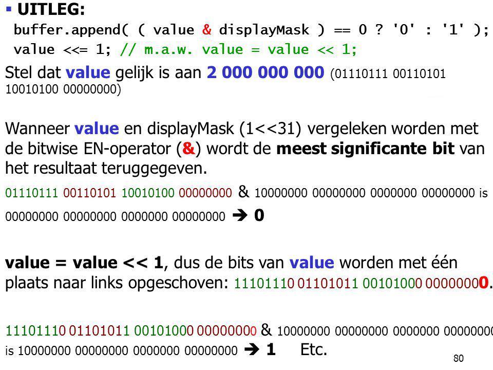 80  UITLEG: buffer.append( ( value & displayMask ) == 0 .