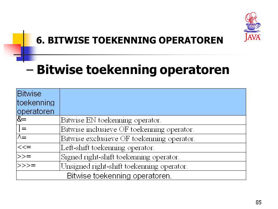 85 6. BITWISE TOEKENNING OPERATOREN – Bitwise toekenning operatoren