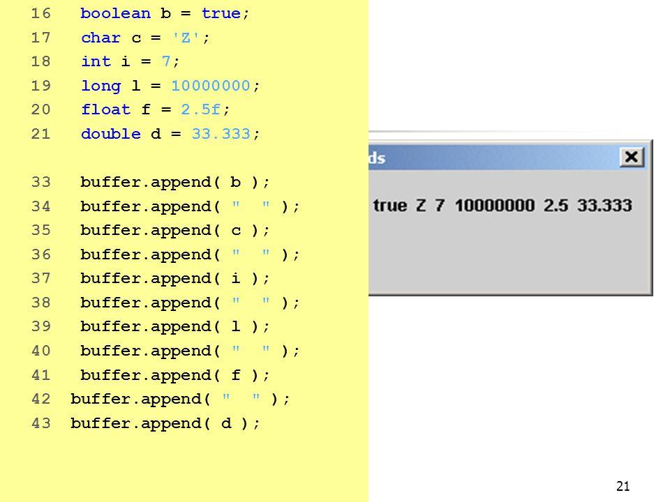 21 16 boolean b = true; 17 char c = Z ; 18 int i = 7; 19 long l = 10000000; 20 float f = 2.5f; 21 double d = 33.333; 33 buffer.append( b ); 34 buffer.append( ); 35 buffer.append( c ); 36 buffer.append( ); 37 buffer.append( i ); 38 buffer.append( ); 39 buffer.append( l ); 40 buffer.append( ); 41 buffer.append( f ); 42 buffer.append( ); 43 buffer.append( d );