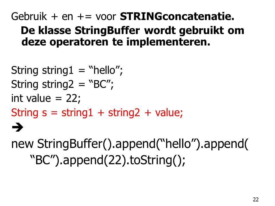 """22 Gebruik + en += voor STRINGconcatenatie. De klasse StringBuffer wordt gebruikt om deze operatoren te implementeren. String string1 = """"hello""""; Strin"""