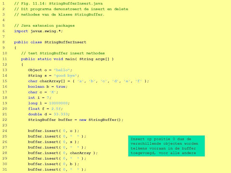 26 1 // Fig. 11.14: StringBufferInsert.java 2 // Dit programma demonstreert de insert en delete 3 // methodes van de klasse StringBuffer. 4 5 // Java